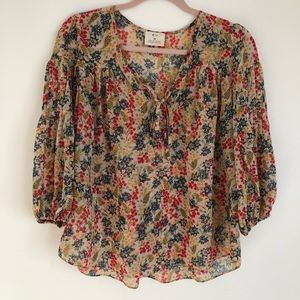 Anthropologie Pins & Needle's Floral Printed Top